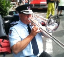 "Greg Campbell from Blackheath, NSW: ""I live in the upper Blue Mountains and travel many kilometres weekly to play with the Sydney based Fire & Rescue Band on bass trombone. Marching on ANZAC Day in the city is a highlight along with tattoos and festivals all over the world. Playing the trombone has given me great joy and I love the opportunities it has given me."""