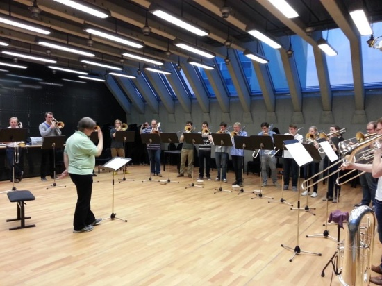 Andreas Kraft with trombone class and Stuttgart Radio Orchestra section